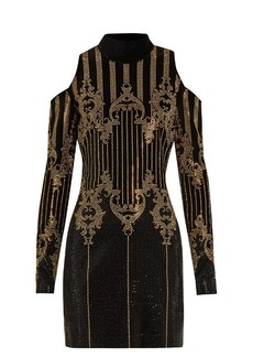 Balmain High-neck embellished velvet dress