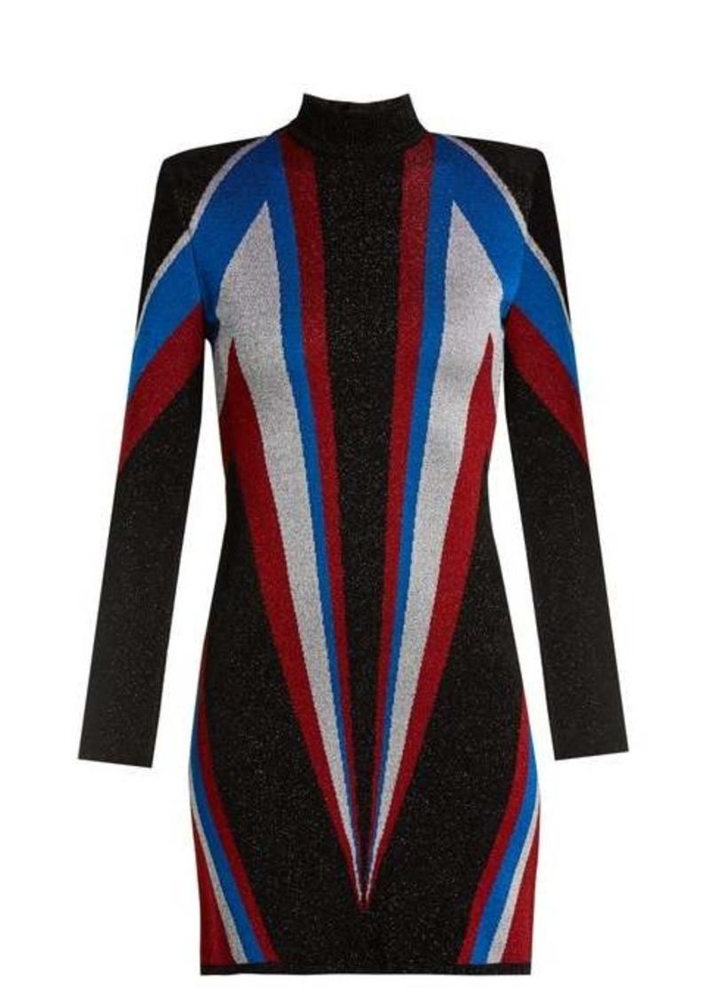 Balmain High-neck knit mini dress