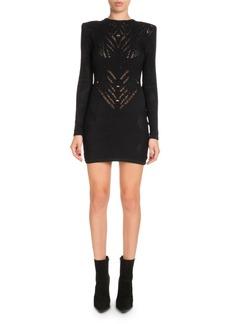 Balmain High-Neck Long-Sleeve Knit Lace Short Dress
