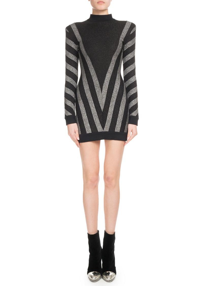 Balmain High-Neck Long-Sleeve Metallic Chevron Knit Cocktail Dress