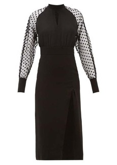 Balmain High-neck polka-dot sleeve crepe dress