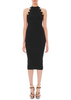 Balmain High-Neck Ribbed Body-Con Dress