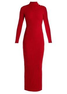 Balmain High-neck ribbed-knit wool dress