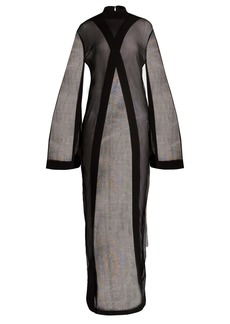 Balmain High-neck sheer-panelled crepe cape