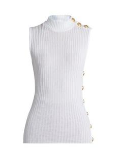 Balmain High-neck sleeveless cotton top
