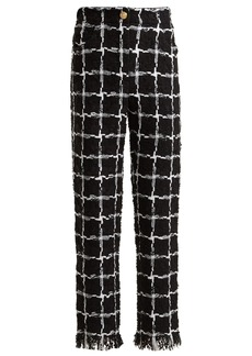 Balmain High-rise checked tweed trousers