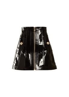 Balmain High-rise patent-leather skirt