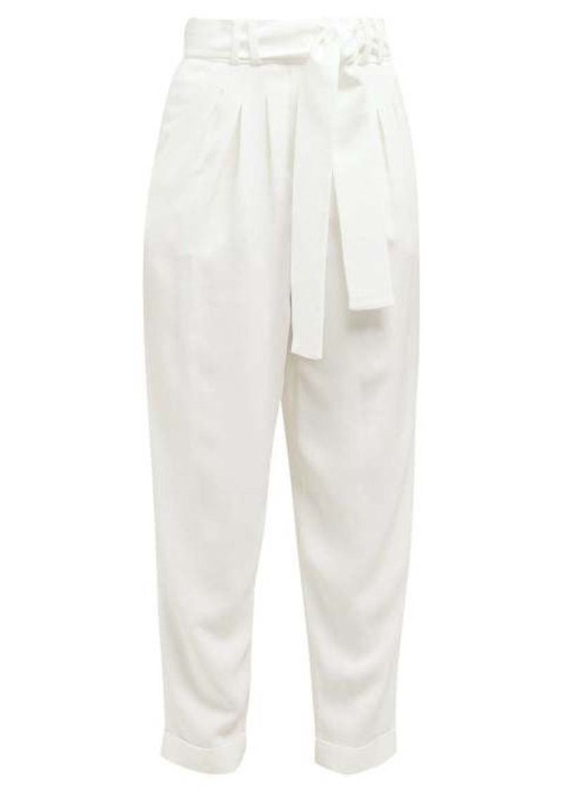 Balmain High-rise turn-up cuff twill trousers