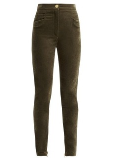 Balmain High-rise velvet trousers
