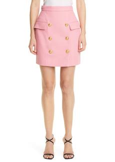 Balmain High Waist Button Front Cotton Piqué Skirt