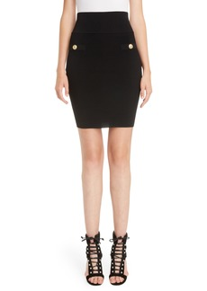 Balmain High Waist Rib Knit Skirt