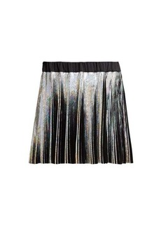 Balmain Holographic pleated voile mini skirt