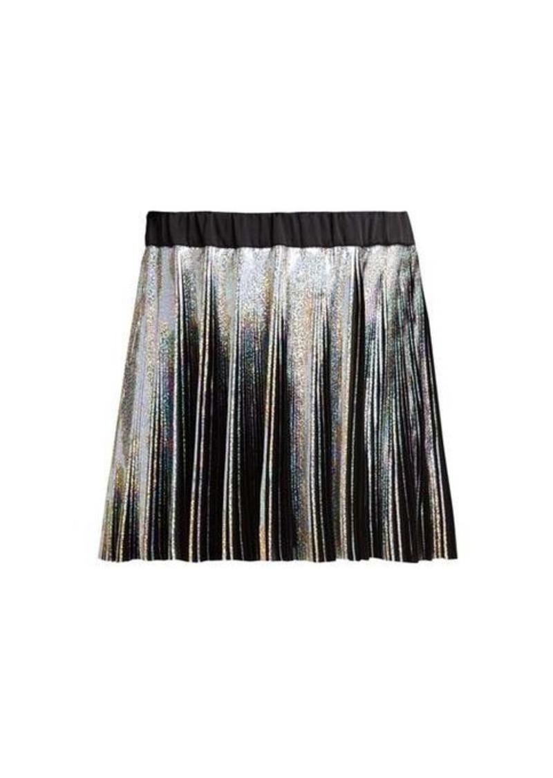 Balmain Holographic pleated voile mini skirt