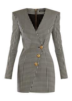 Balmain Houndstooth buttoned mini dress