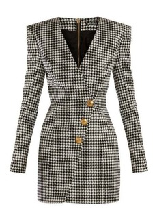Balmain Houndstooth buttoned mini dress