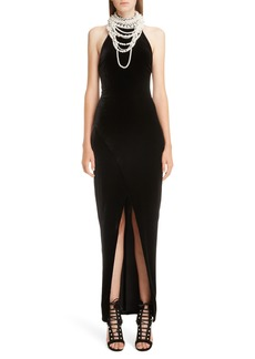 Balmain Imitation Pearl Necklace Halter Evening Dress
