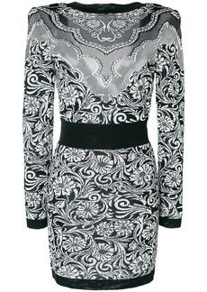 Balmain jacquard effect dress - Black