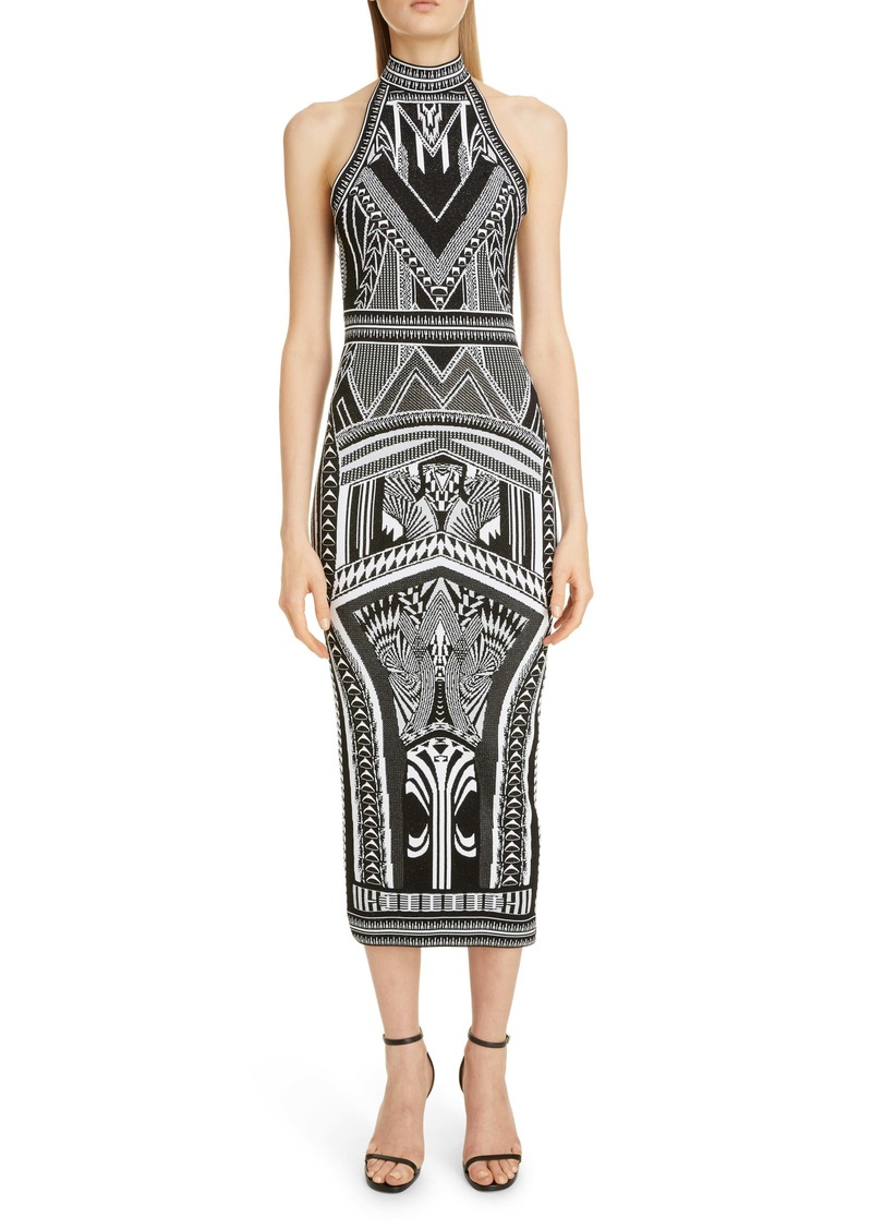 Balmain Jacquard Halter Midi Dress