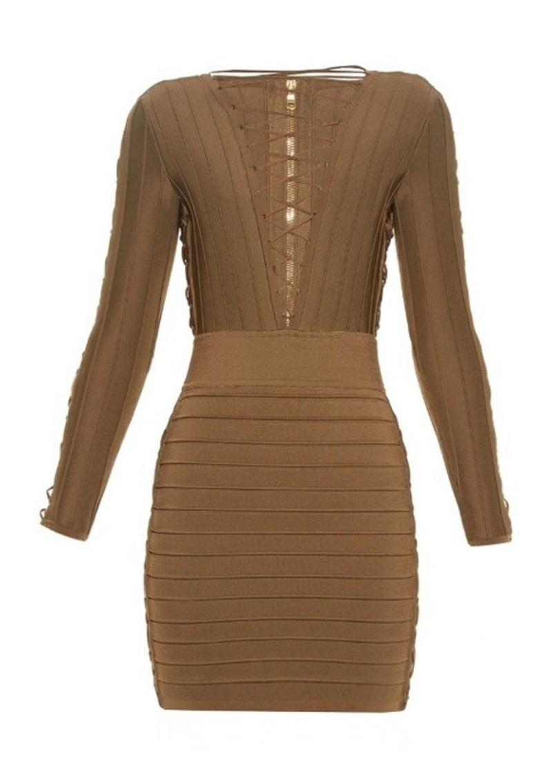 Balmain Lace-up bandage mini dress