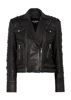Balmain Lace up-detailed textured-leather biker jacket