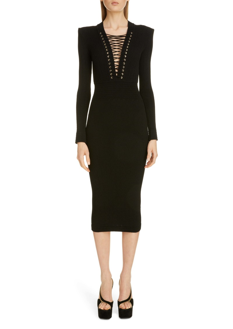 Balmain Lace-Up Long Sleeve Midi Sweater Dress