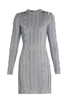 Balmain Lace-up satin-knit dress
