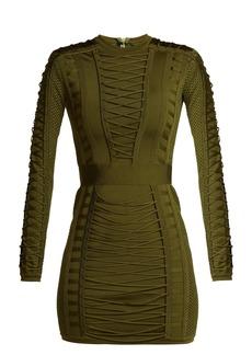 Balmain Lace-up stretch-knit mini dress