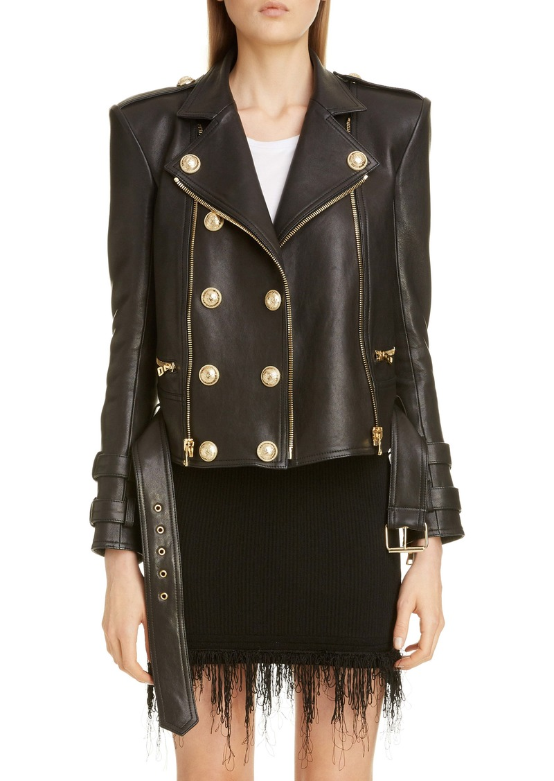 Balmain Lambskin Leather Moto Jacket