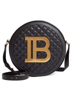 Balmain Large Disco Logo Quilted Leather Shoulder Bag