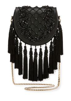 Balmain Leather Fringe Flap Shoulder Bag