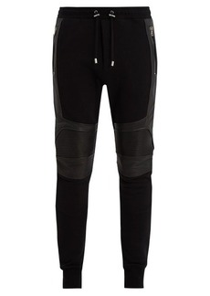 Balmain Leather-panelled cotton-jersey track pants