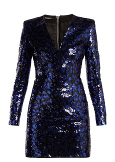 Balmain Leopard sequined mini dress