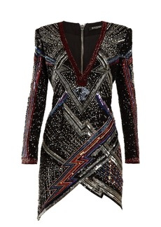 Balmain Lightening-bolt split-hem sequined mini dress