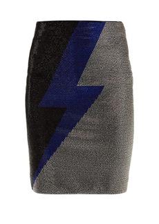 Balmain Lightning bolt crystal-embellished mini skirt