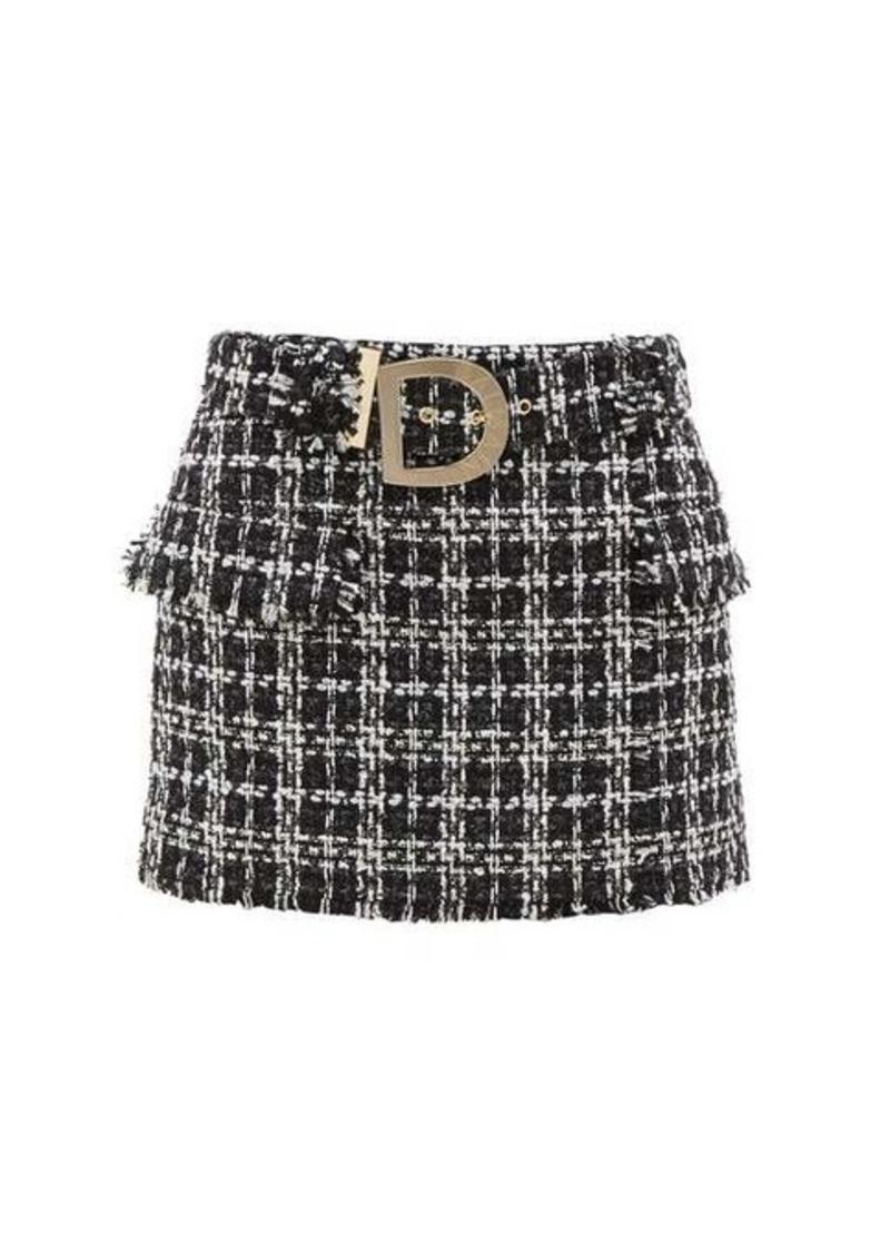 Balmain Logo-buckle cotton-blend tweed mini skirt