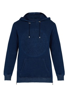 Balmain Logo-embossed cotton hooded sweatshirt
