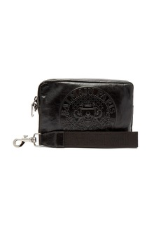 Balmain Logo-embossed leather camera pouch