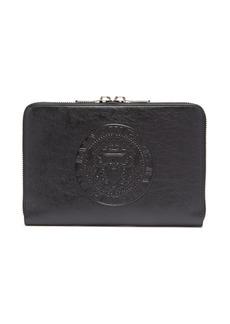 Balmain Logo-embossed leather document holder