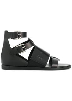 Balmain logo embossed sandals - Black