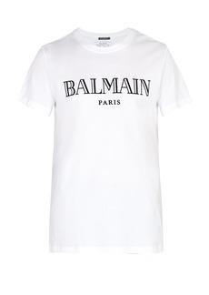 Balmain Logo-flocked cotton-jersey T-shirt