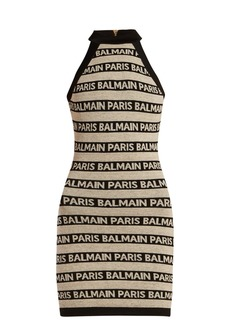 Balmain Logo-intarsia knitted mini dress