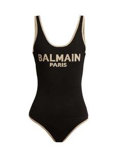 Balmain Logo intarsia linen-blend bodysuit