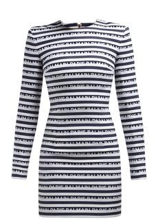 Balmain Logo-jacquard cotton mini dress