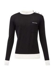 Balmain Logo-jacquard virgin-wool sweater