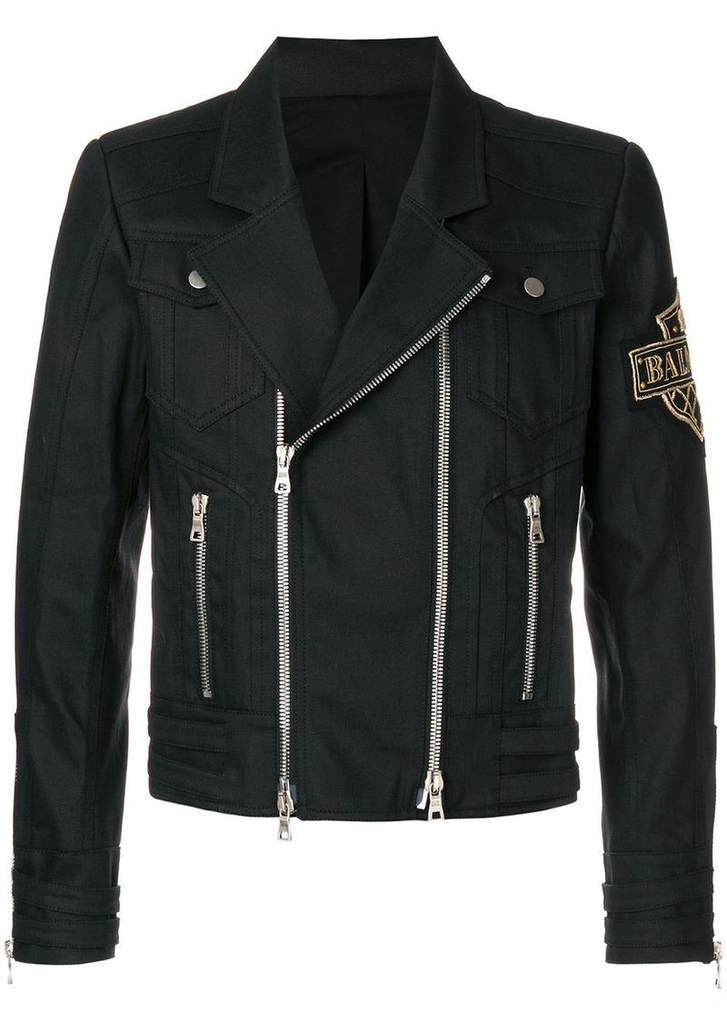 Balmain logo patch biker jacket