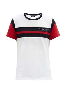 Balmain Logo-print stripes cotton T-shirt