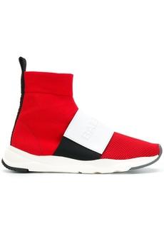 Balmain logo sock sneakers - Red