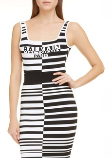 Balmain Logo Stripe Jacquard Bodysuit