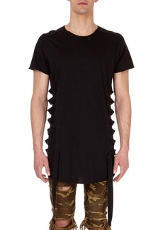 Balmain Long Cotton T-Shirt with Bondage Straps