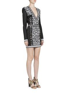 Balmain Long Sleeve Animal Jacquard Dress